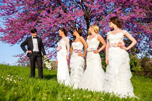 Groom picking a one of four brides
